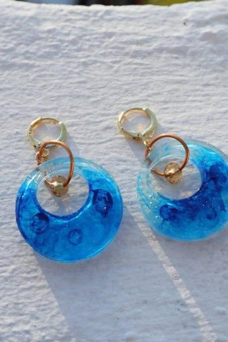 MARBLE BLUE, resin earrings, women accessories, women earrings, gift for her, gift under 20