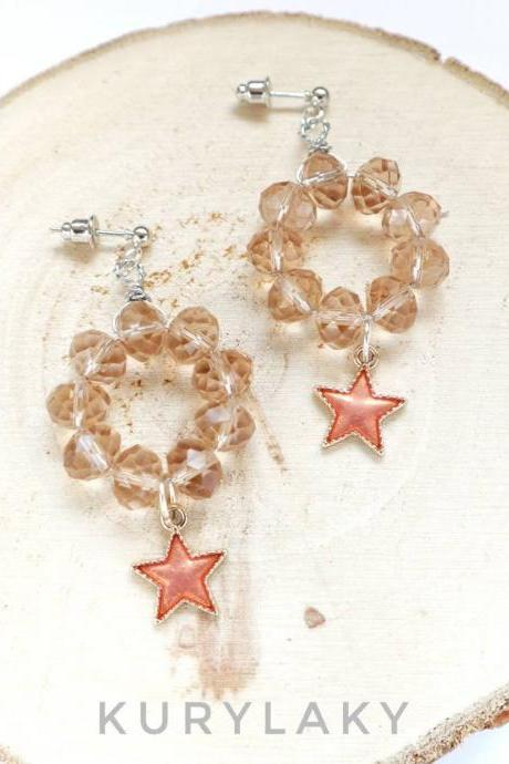starry earrings, stars accessories, stars charm earrings, women earrings, beaded earrings, special gift for her