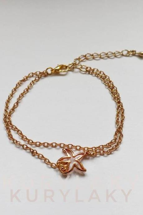 starfish charm bracelet, golden bracelet, women bracelet, girl bracelet, jewelry for her, charm bracelet, golden women bracelet,gift for her